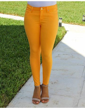 Bright Orange Mid Rise Skinny Ankle Pants