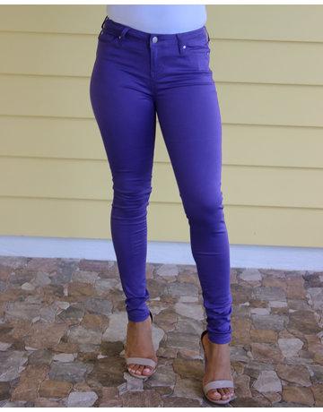 Purple Mid Rise Skinny Pants