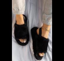 Keep Me Warm Fur Sandal - BLACK