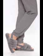 Keep Me Warm Fur Sandal - GREY