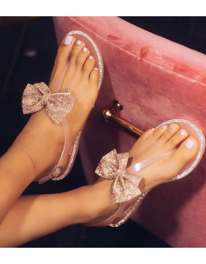 Struting In Bow Sandals - ROSE GOLD