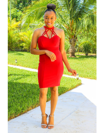 Treating Myself Bodycon Dress - Red