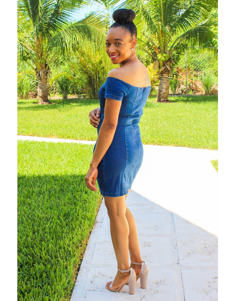 Hands Down Off Shoulder Denim Dress