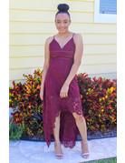 Flutter Along Lace Hi Lo Dress