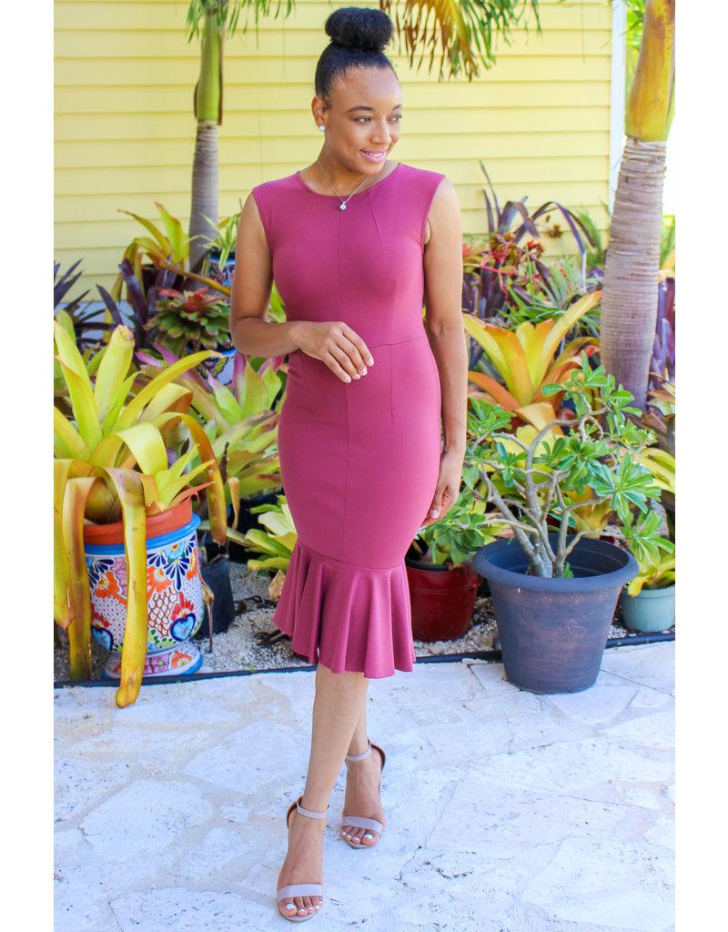 Award Winning Mermaid Midi Dress Dusty Pink