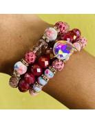 Pink Lillies Bracelet Set