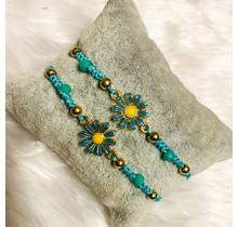 Sunflower Friendship Bracelets - Aqua