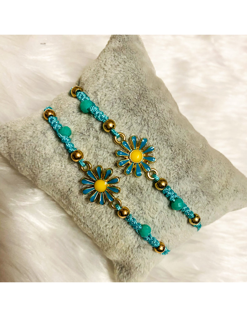 Sunflower Friendship Bracelets - Aqua