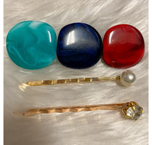 Stepping Stones Hair Pins - Red
