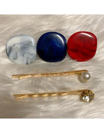 Stepping Stones Hair Pins - Navy