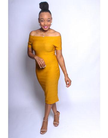 Keep Me Young Bandage Dress - Mustard
