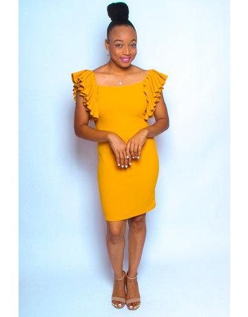 Another Chance Ruffle Dress Mustard