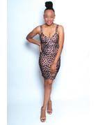 Get It Girl Leopard Dress Brown