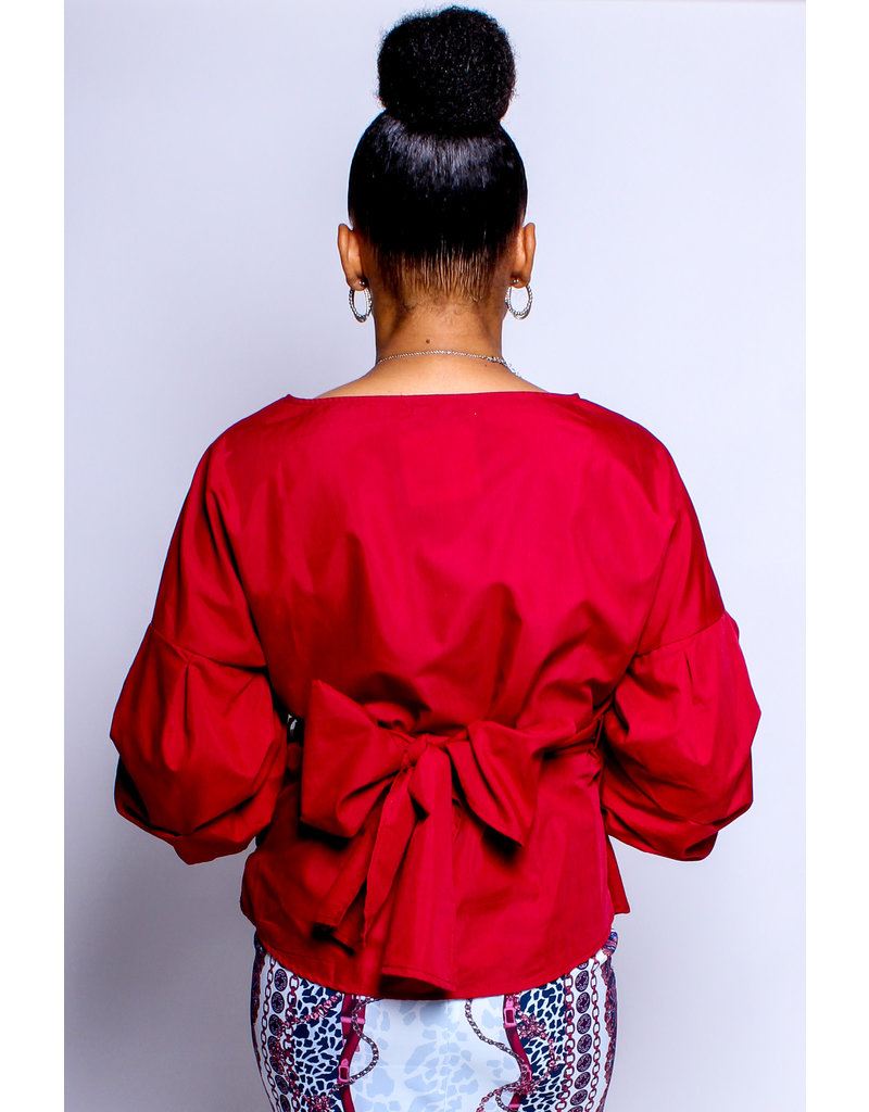 Tied Down Top Ruby Red