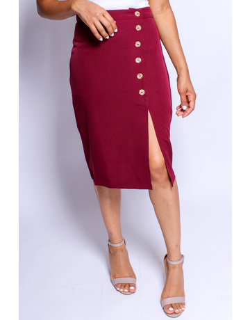 Like A Glove Buttoned Skirt Burgundy