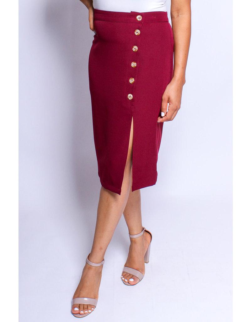Like A Glove Buttoned Skirt Burgundy