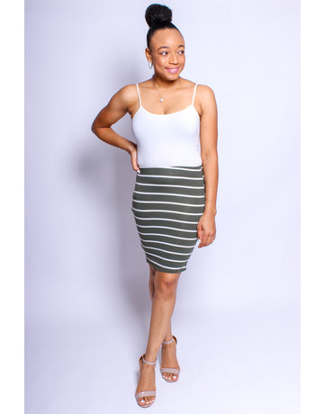 Sit Still Striped Skirt Olive