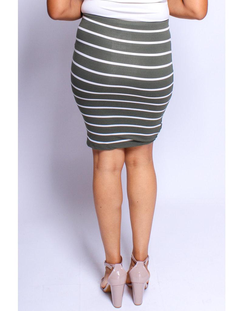 Sit Still Striped Skirt Olive