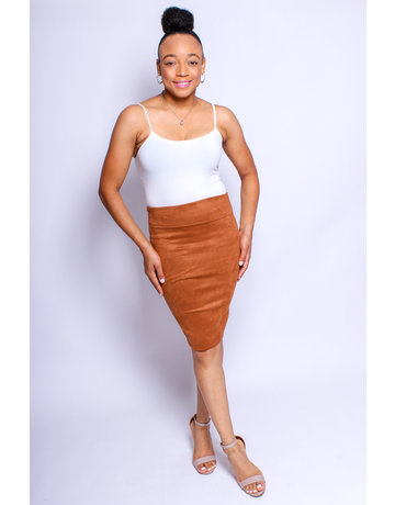 Don't Doubt Me Suede Skirt Cognac