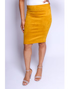 Don't Doubt Me Suede Skirt Mustard