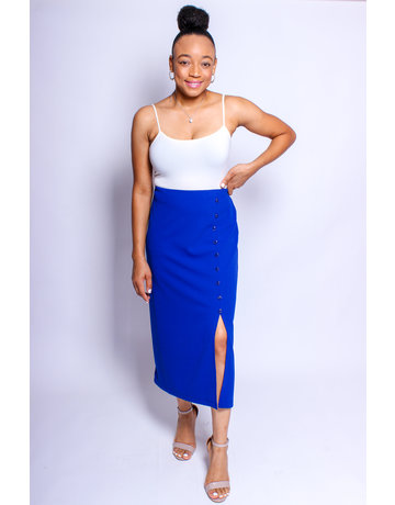 Taking Care Of Business Pencil Skirt Cobalt