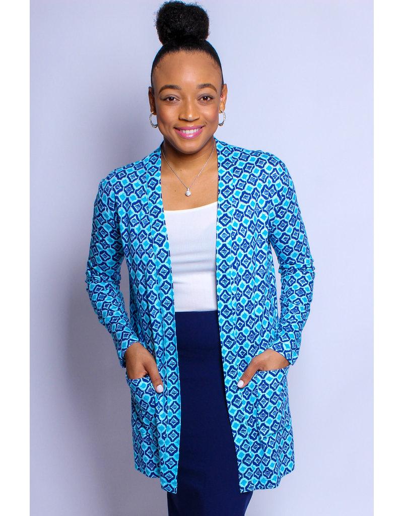 Aqua Print Open Front Knit Cardigan