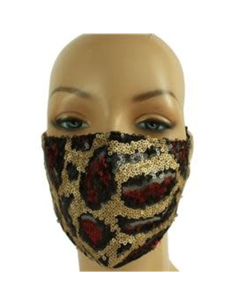 In Style Sequin Mask - Burgundy