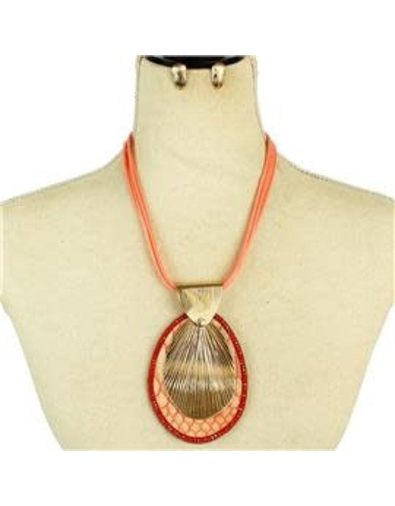 Center Cut Necklace Set - Coral