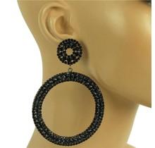 Oh Boy Rhinestone Earrings - Navy