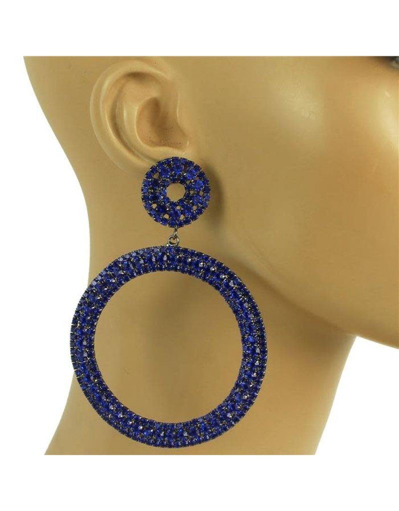 Oh Boy Rhinestone Earrings - Royal Blue