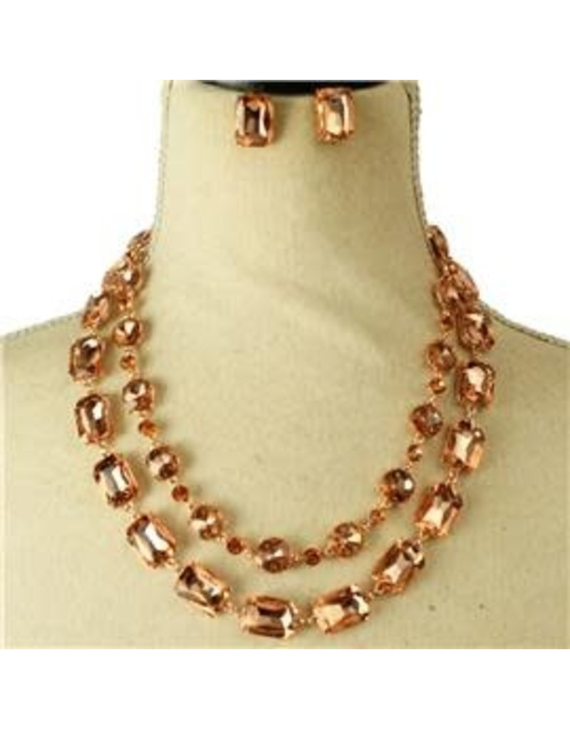 Boxed In Crystal Necklace Set - Rose Gold
