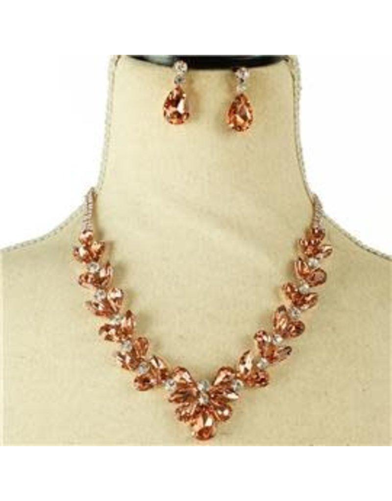 Careless Whisper Crystal Necklace Set - Rose Gold