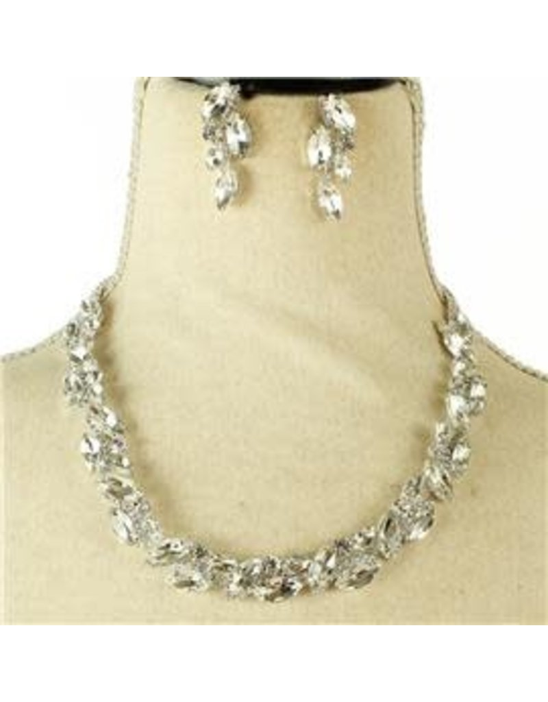 Leave Me Crystal Necklace Set - Silver