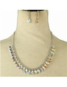 Join Hands Crystal Necklace Set - Silver Iridescent