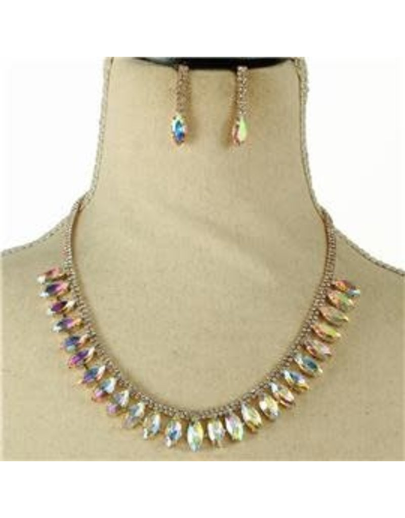Join Hands Crystal Necklace Set - Gold Iridescent