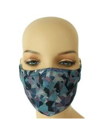 Geo Maze Mask - Blue