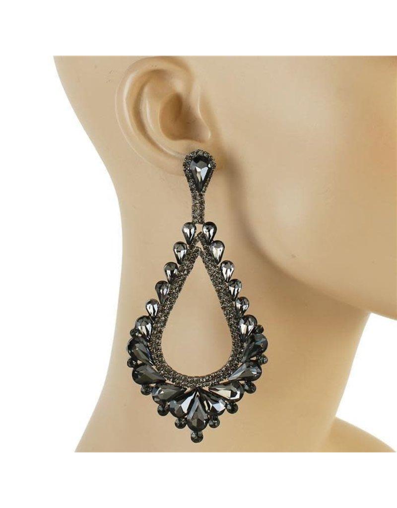 Royal Tiers Earrings - Pewter