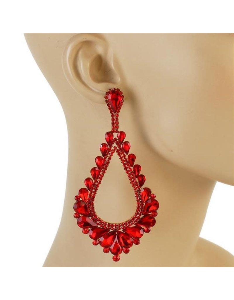Royal Tiers Earrings - Red