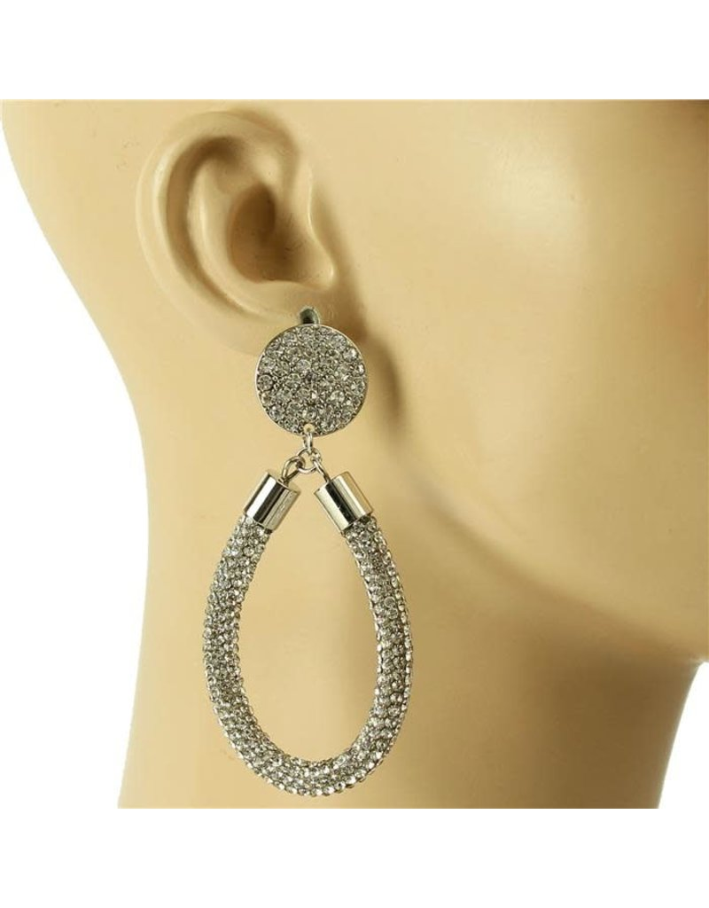 Drip Drop Crystal Earrings - Silver