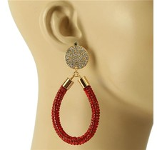 Drip Drop Crystal Earrings - Red