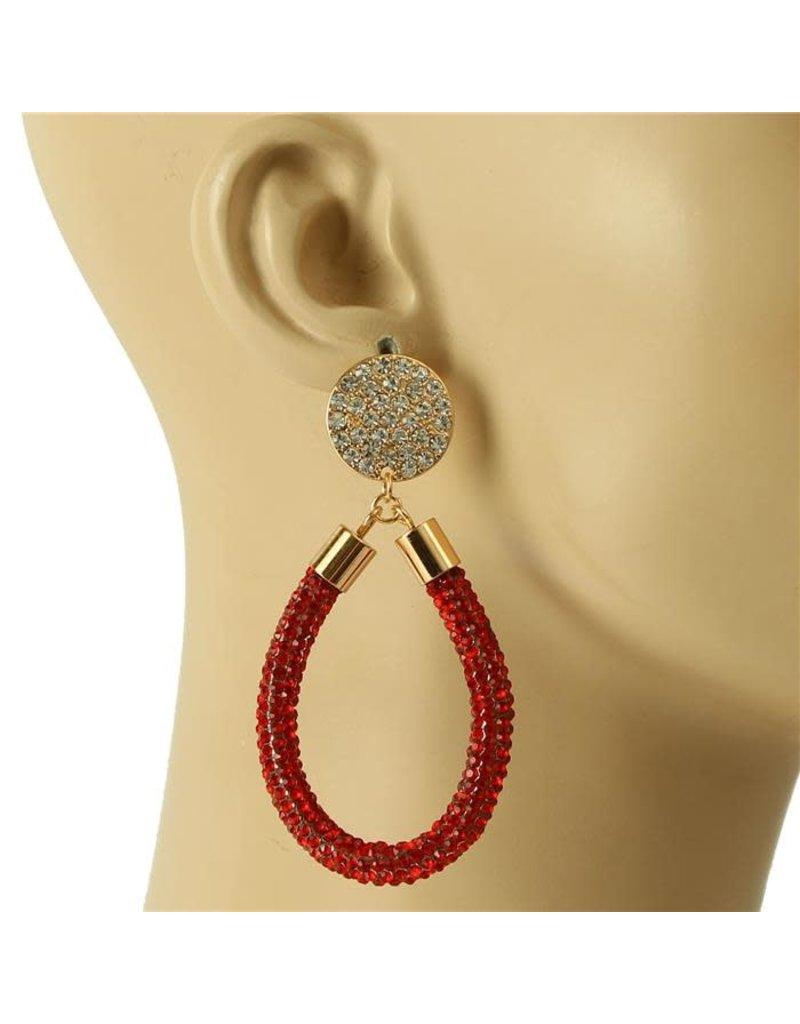 Drip Drop Crystal Earrings - Red
