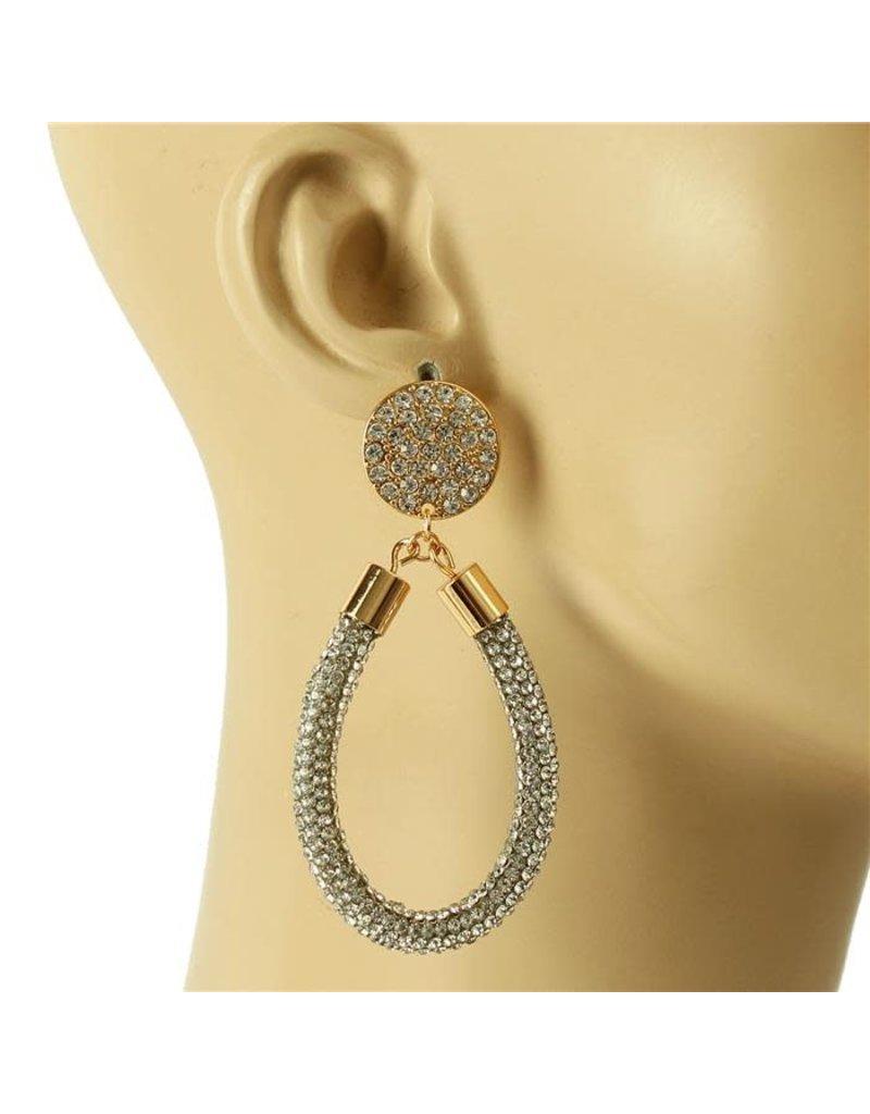 Drip Drop Crystal Earrings - Gold