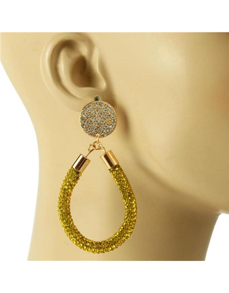 Drip Drop Crystal Earrings - Yellow
