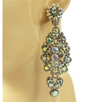 Glitz On Clip On Earrings - Silver Iridescent