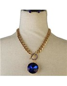 Ball N Chain Necklace Set - Royal Blue