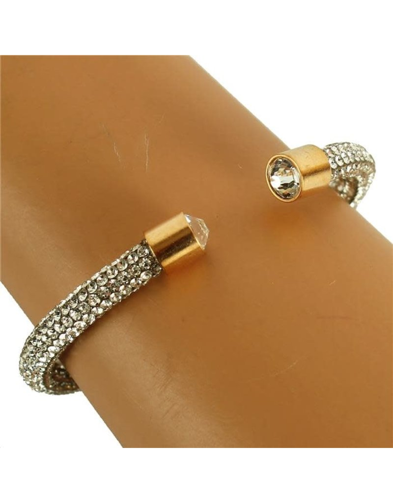Soft Touch Rhinestone Bangle - Gold
