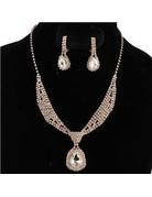 Tie It Down Rhinestone Necklace Set - Rose Gold