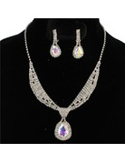 Tie It Down Rhinestone Necklace Set - Silver Iridescent
