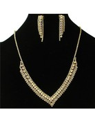 Lookout Rhinestone Necklace Set - Gold Iridescent
