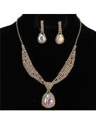Tie It Down Rhinestone Necklace Set - Gold Iridescent